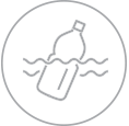 plastic bottle in water icon
